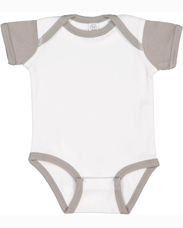 Rabbit Skins Infant Baby Rib Bodysuit WHITE/ TITANIUM