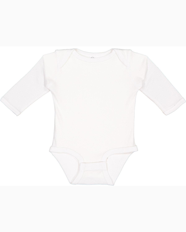 Rabbit Skins Infant Long-Sleeve Baby Rib Bodysuit WHITE