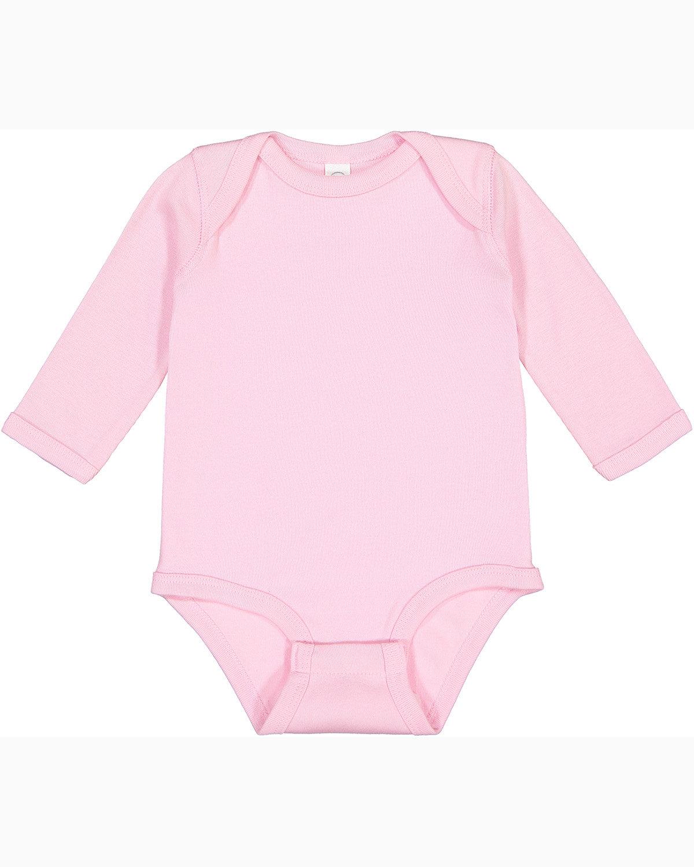 Rabbit Skins Infant Long-Sleeve Baby Rib Bodysuit PINK