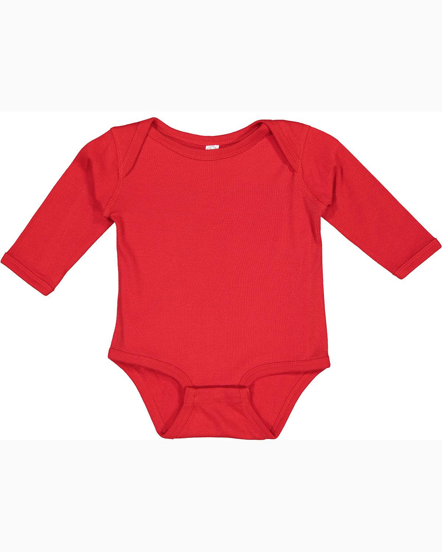 Rabbit Skins Infant Long-Sleeve Baby Rib Bodysuit RED