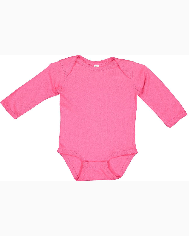 Rabbit Skins Infant Long-Sleeve Baby Rib Bodysuit HOT PINK