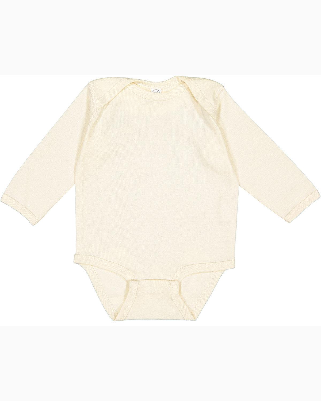 Rabbit Skins Infant Long-Sleeve Baby Rib Bodysuit NATURAL