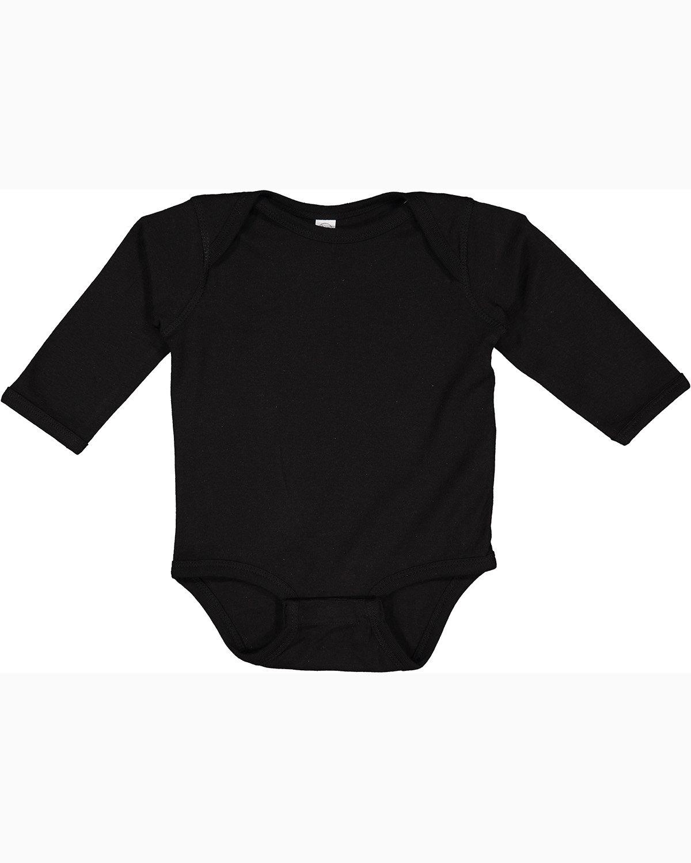 Rabbit Skins Infant Long-Sleeve Baby Rib Bodysuit BLACK