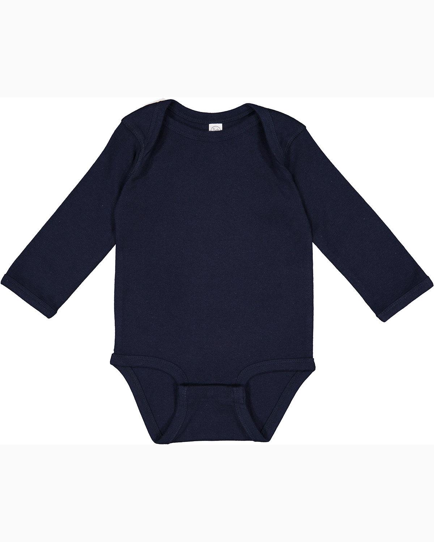 Rabbit Skins Infant Long-Sleeve Baby Rib Bodysuit NAVY