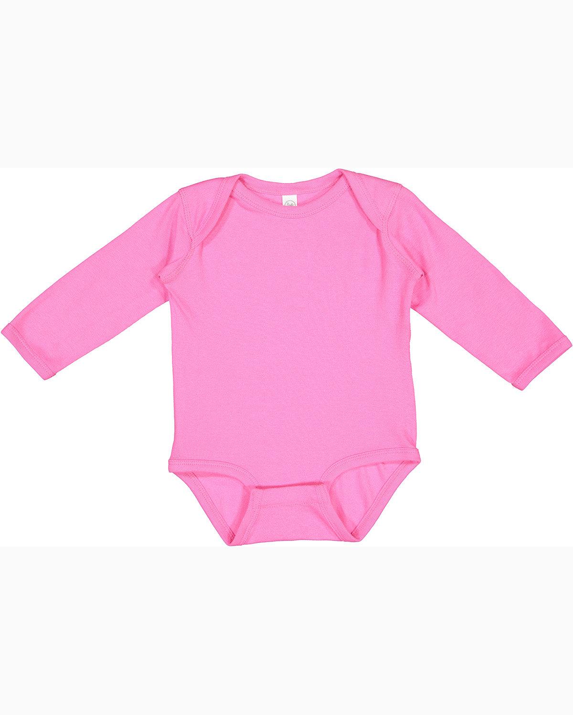 Rabbit Skins Infant Long-Sleeve Baby Rib Bodysuit RASPBERRY