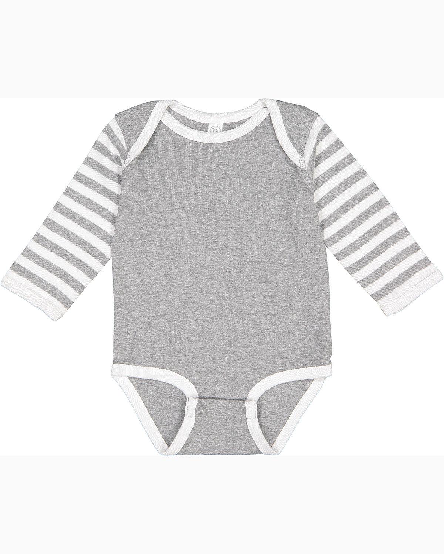 Rabbit Skins Infant Long-Sleeve Baby Rib Bodysuit HT/ WH/ HT WH ST