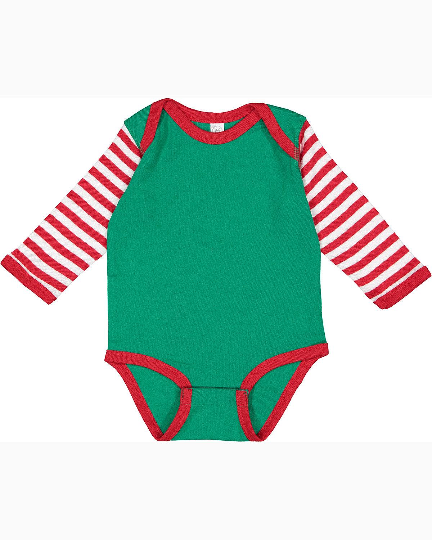Rabbit Skins Infant Long-Sleeve Baby Rib Bodysuit KL/ RD/ RD WH ST