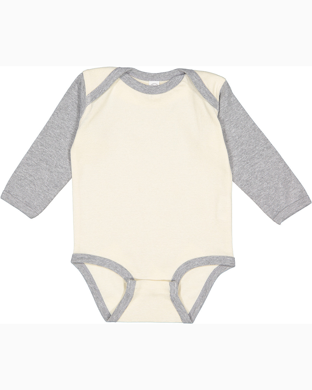 Rabbit Skins Infant Long-Sleeve Baby Rib Bodysuit NATURAL/ HEATHER