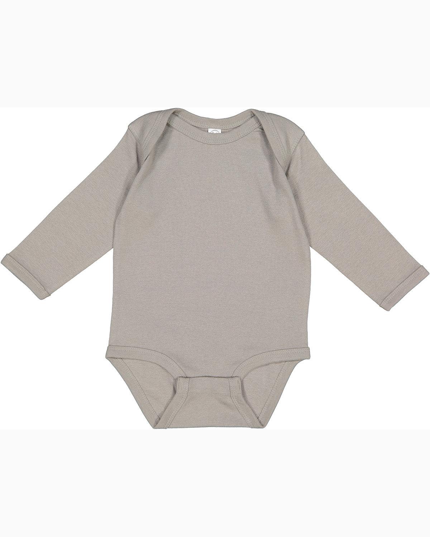 Rabbit Skins Infant Long-Sleeve Baby Rib Bodysuit TITANIUM