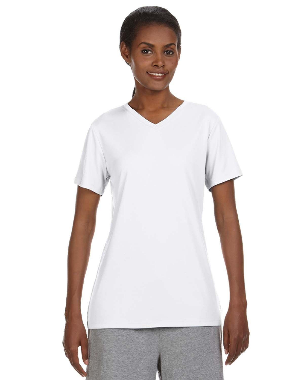 Hanes Ladies' Cool DRI® with FreshIQ V-Neck Performance T-Shirt WHITE