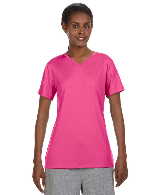 Hanes Ladies' Cool DRI® with FreshIQ V-Neck Performance T-Shirt WOW PINK