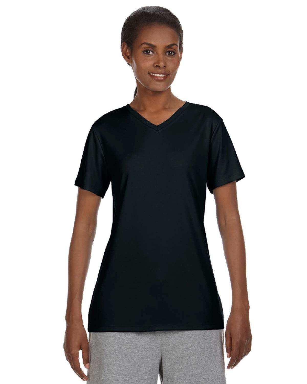 Hanes Ladies' Cool DRI® with FreshIQ V-Neck Performance T-Shirt BLACK