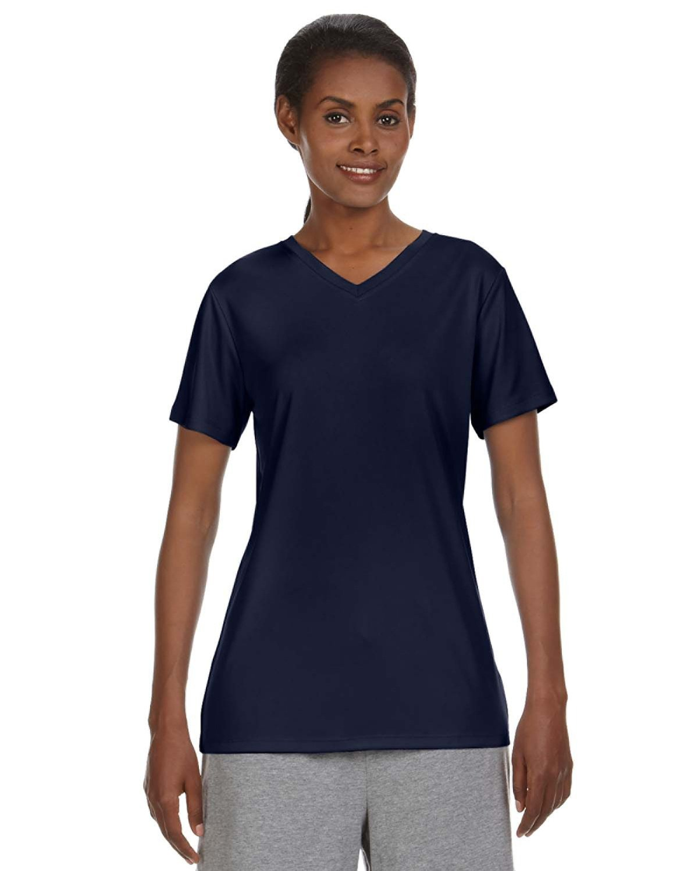 Hanes Ladies' Cool DRI® with FreshIQ V-Neck Performance T-Shirt NAVY