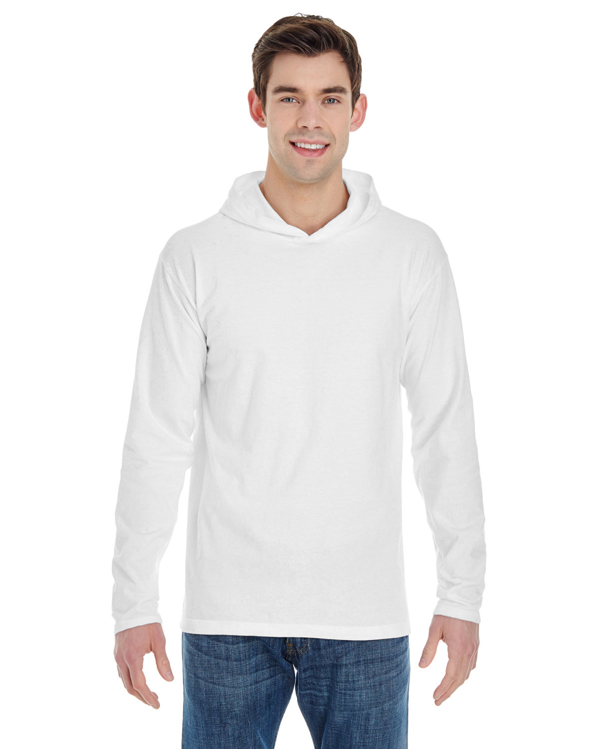 Comfort Colors Adult Heavyweight Long-Sleeve Hooded T-Shirt WHITE
