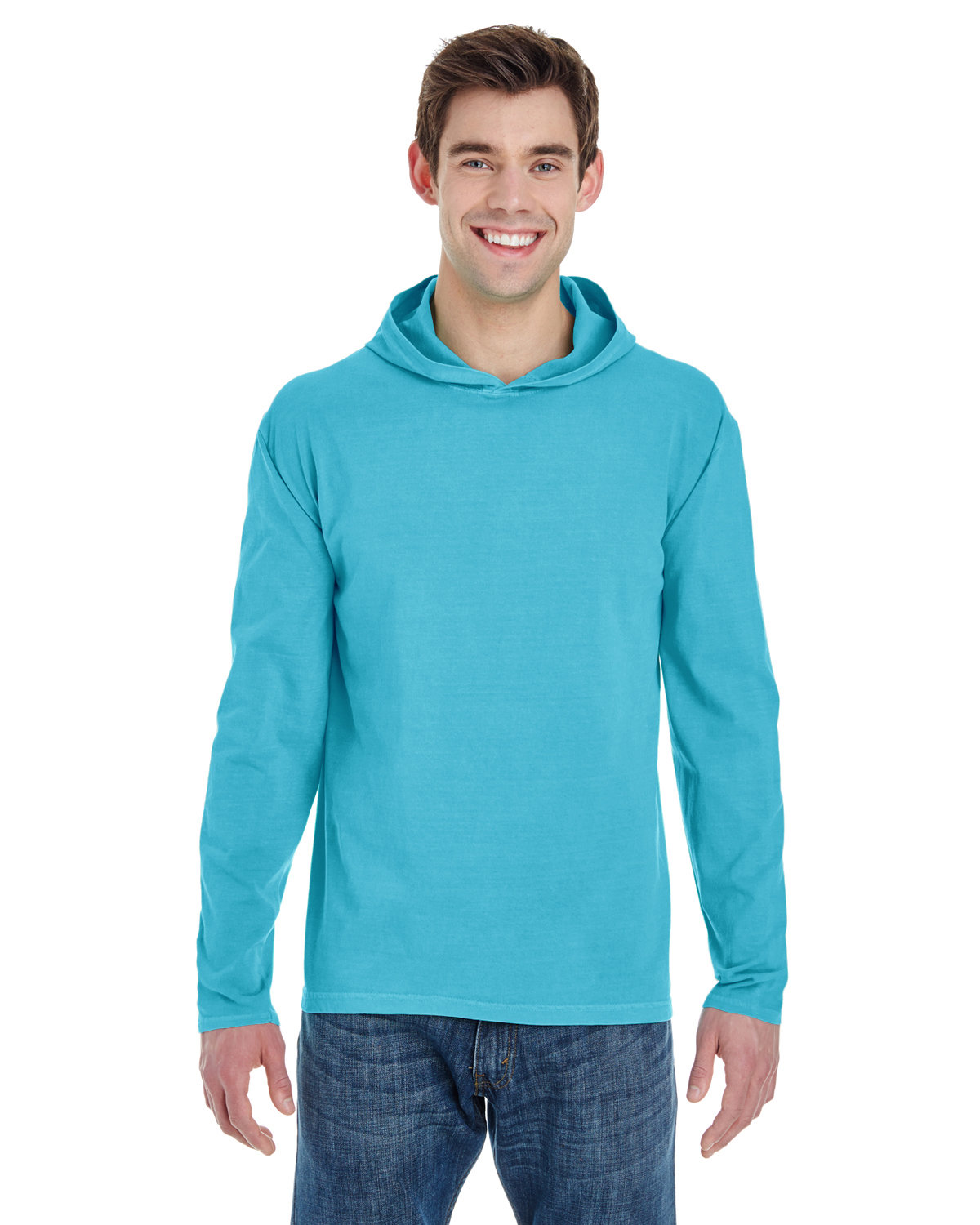 Comfort Colors Adult Heavyweight RS Long-Sleeve Hooded T-Shirt LAGOON BLUE
