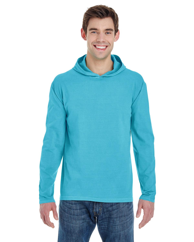 Comfort Colors Adult Heavyweight Long-Sleeve Hooded T-Shirt LAGOON BLUE