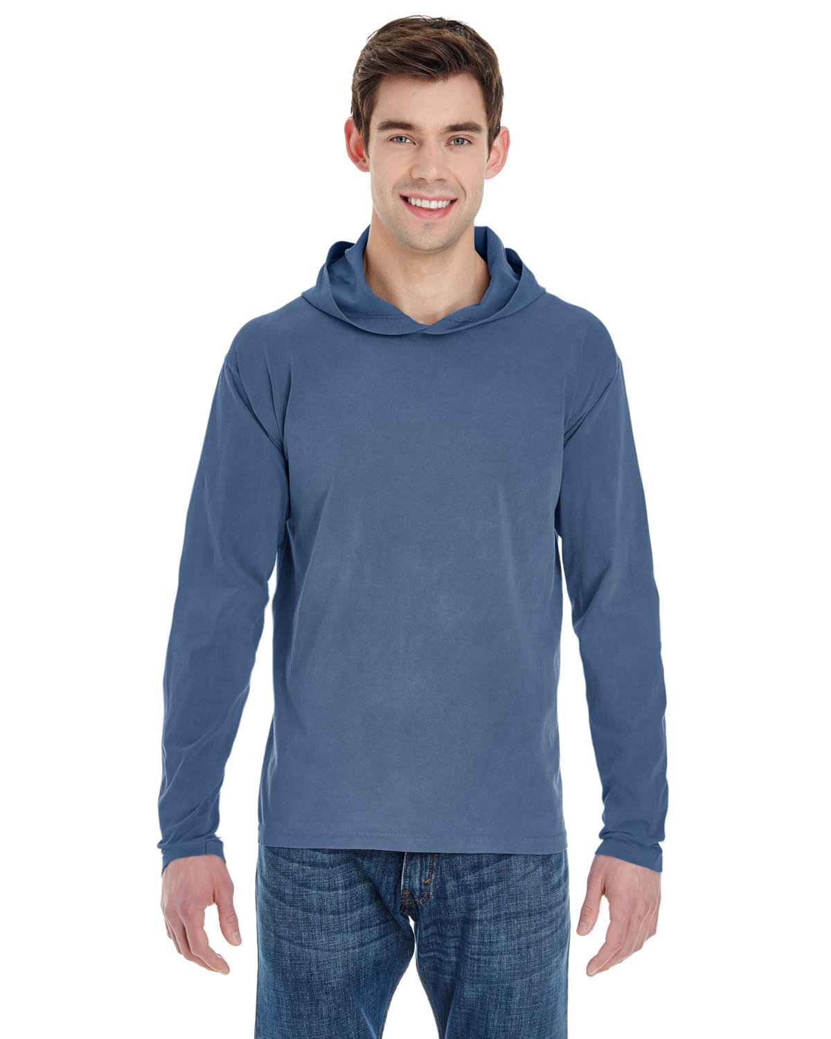Comfort Colors Adult Heavyweight Long-Sleeve Hooded T-Shirt BLUE JEAN