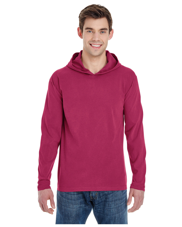 Comfort Colors Adult Heavyweight Long-Sleeve Hooded T-Shirt CRIMSON