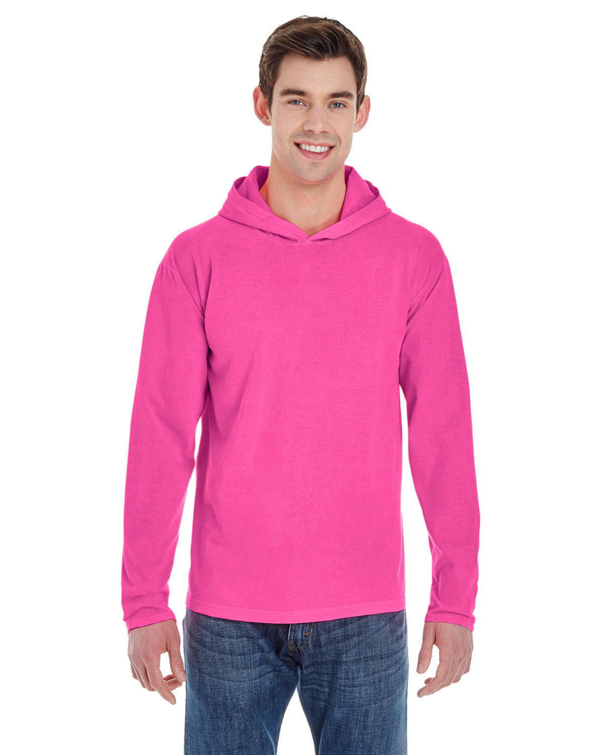 Comfort Colors Adult Heavyweight Long-Sleeve Hooded T-Shirt NEON PINK