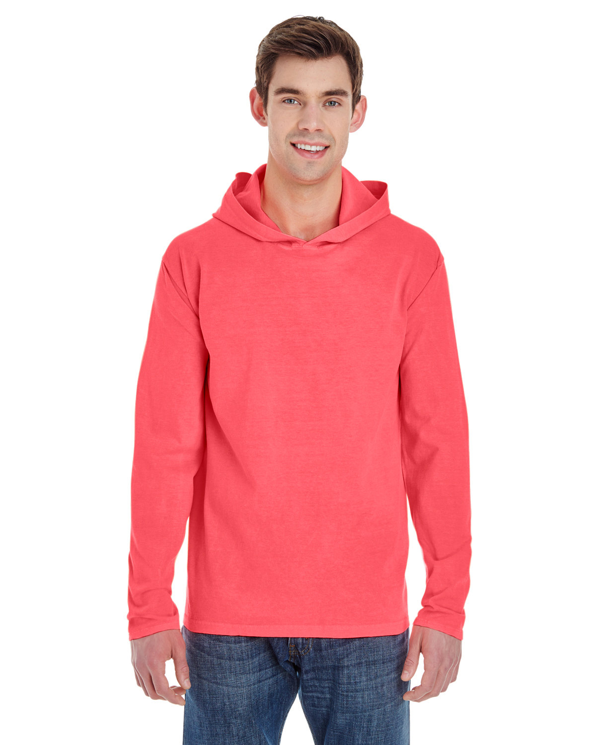 Comfort Colors Adult Heavyweight Long-Sleeve Hooded T-Shirt NEON RED ORANGE