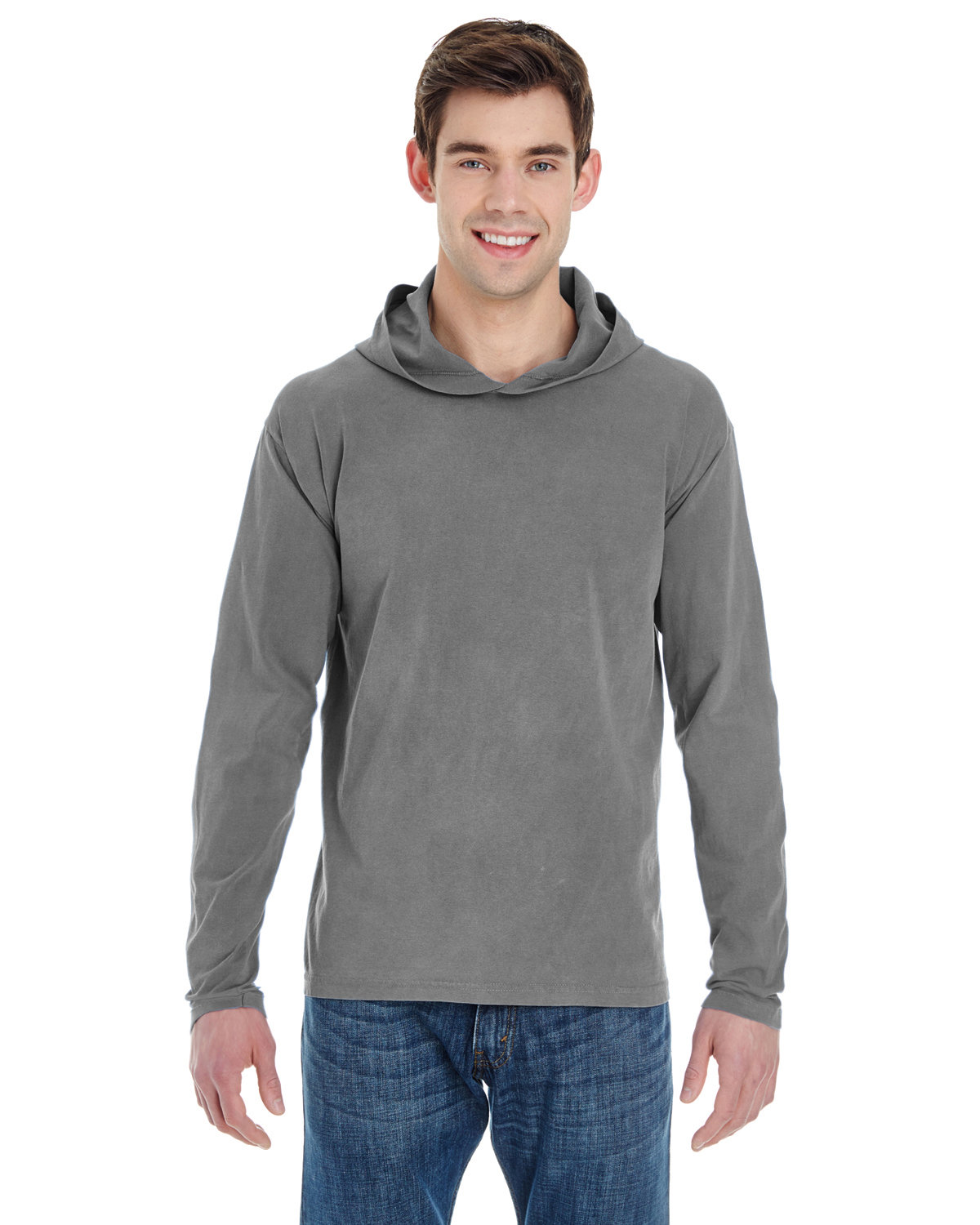 Comfort Colors Adult Heavyweight RS Long-Sleeve Hooded T-Shirt GREY