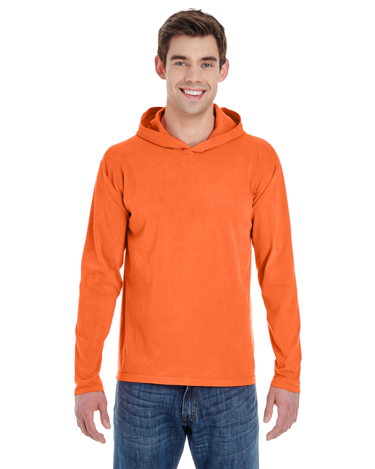 Comfort Colors Adult Heavyweight Long-Sleeve Hooded T-Shirt BRIGHT SALMON
