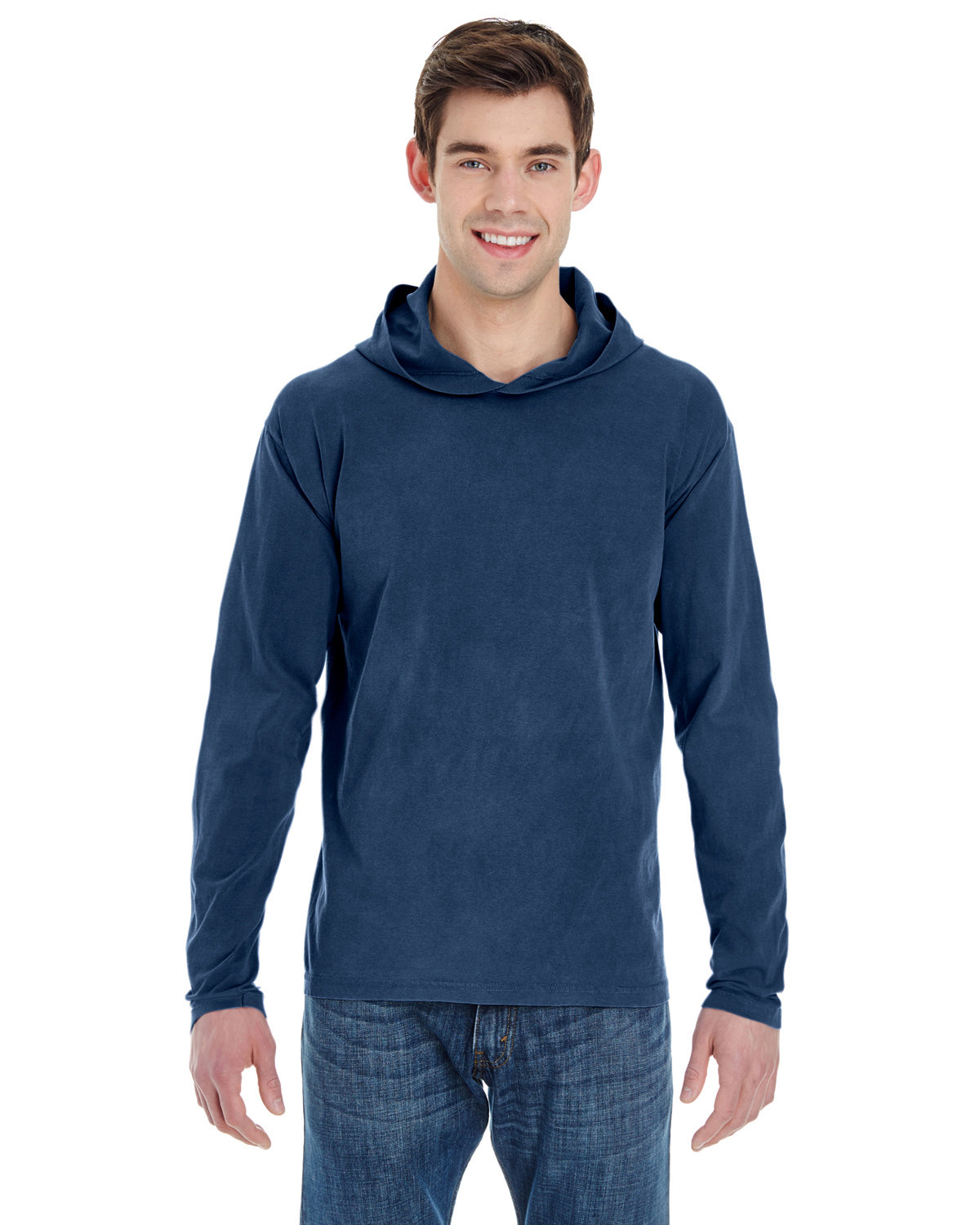 Comfort Colors Adult Heavyweight RS Long-Sleeve Hooded T-Shirt TRUE NAVY