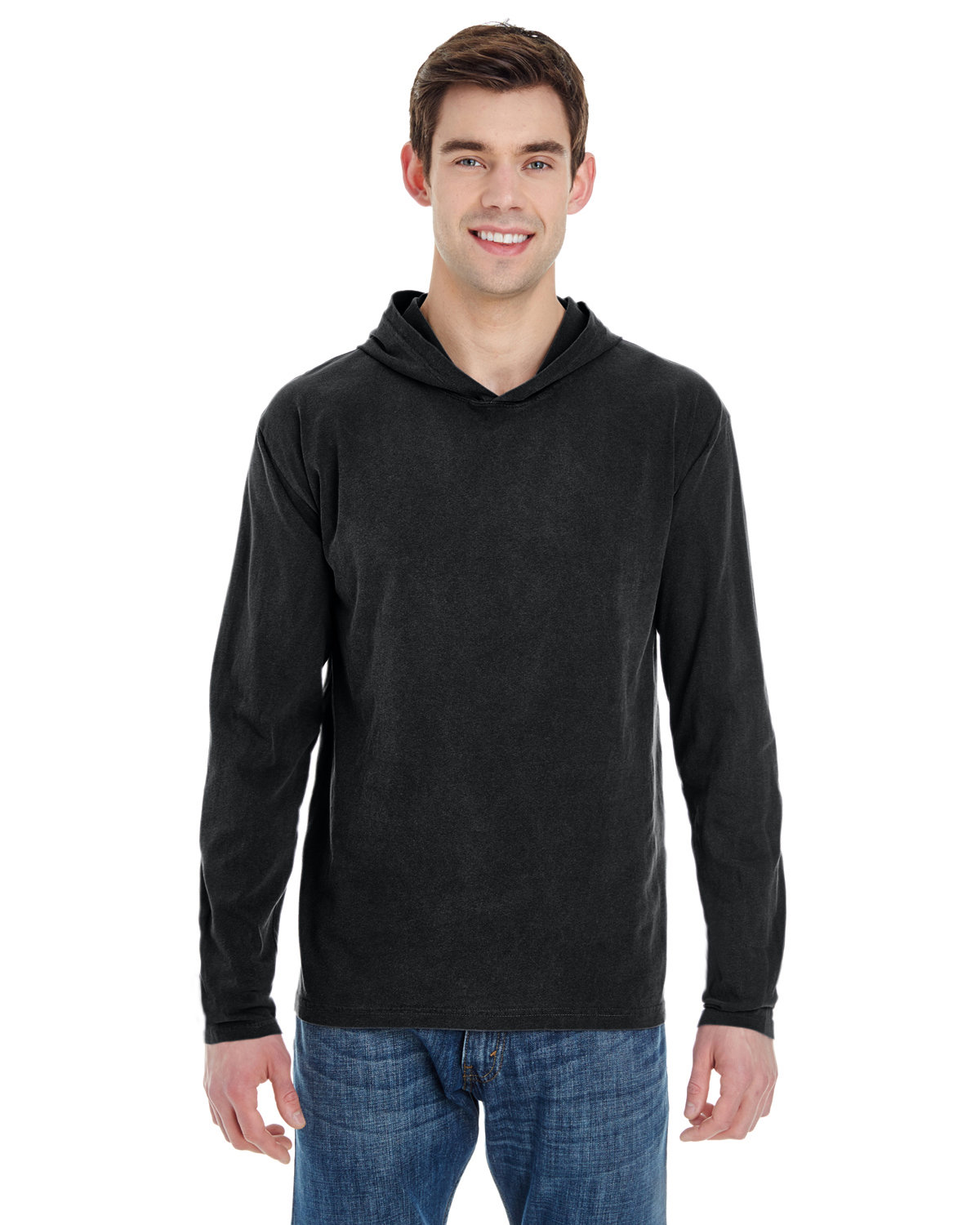 Comfort Colors Adult Heavyweight RS Long-Sleeve Hooded T-Shirt BLACK