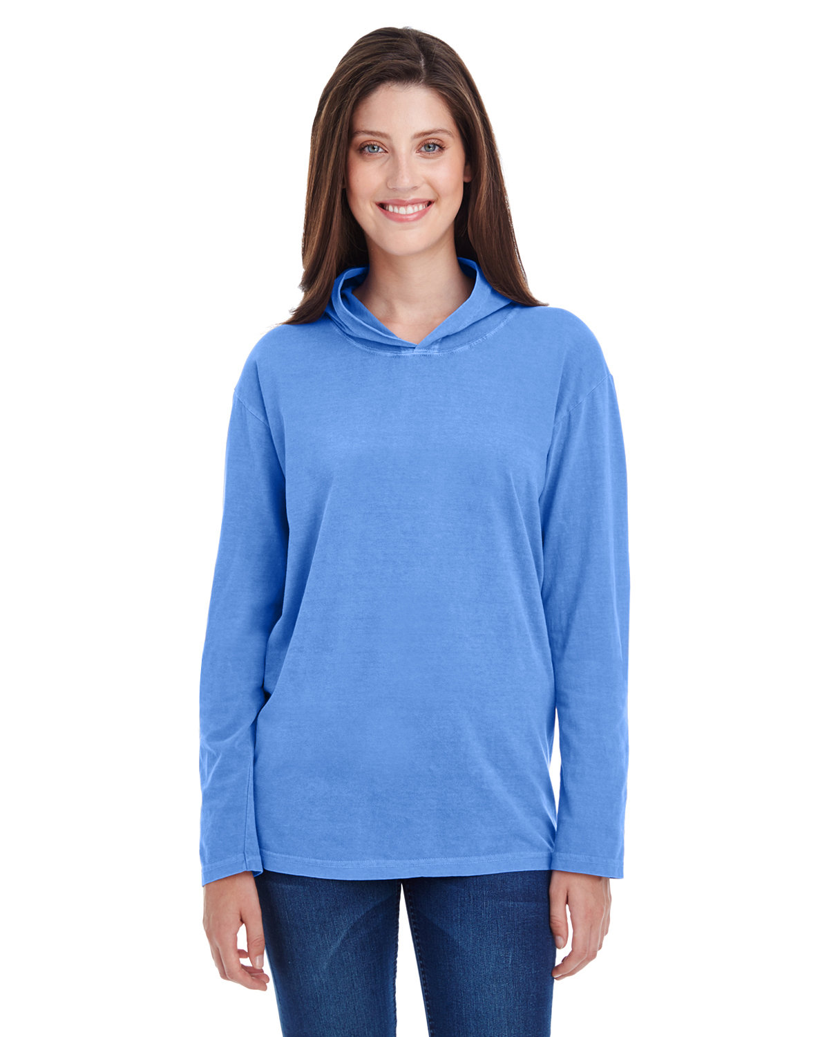 Comfort Colors Adult Heavyweight RS Long-Sleeve Hooded T-Shirt FLO BLUE