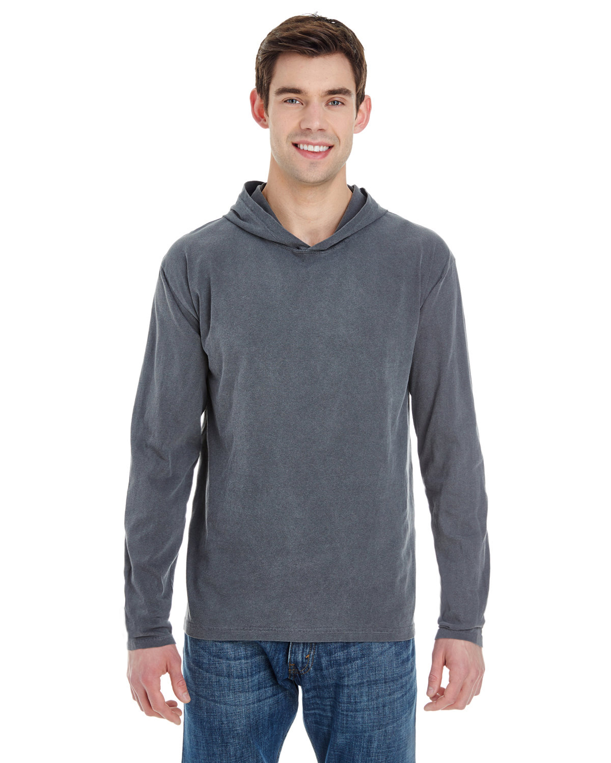 Comfort Colors Adult Heavyweight Long-Sleeve Hooded T-Shirt CHAMBRAY