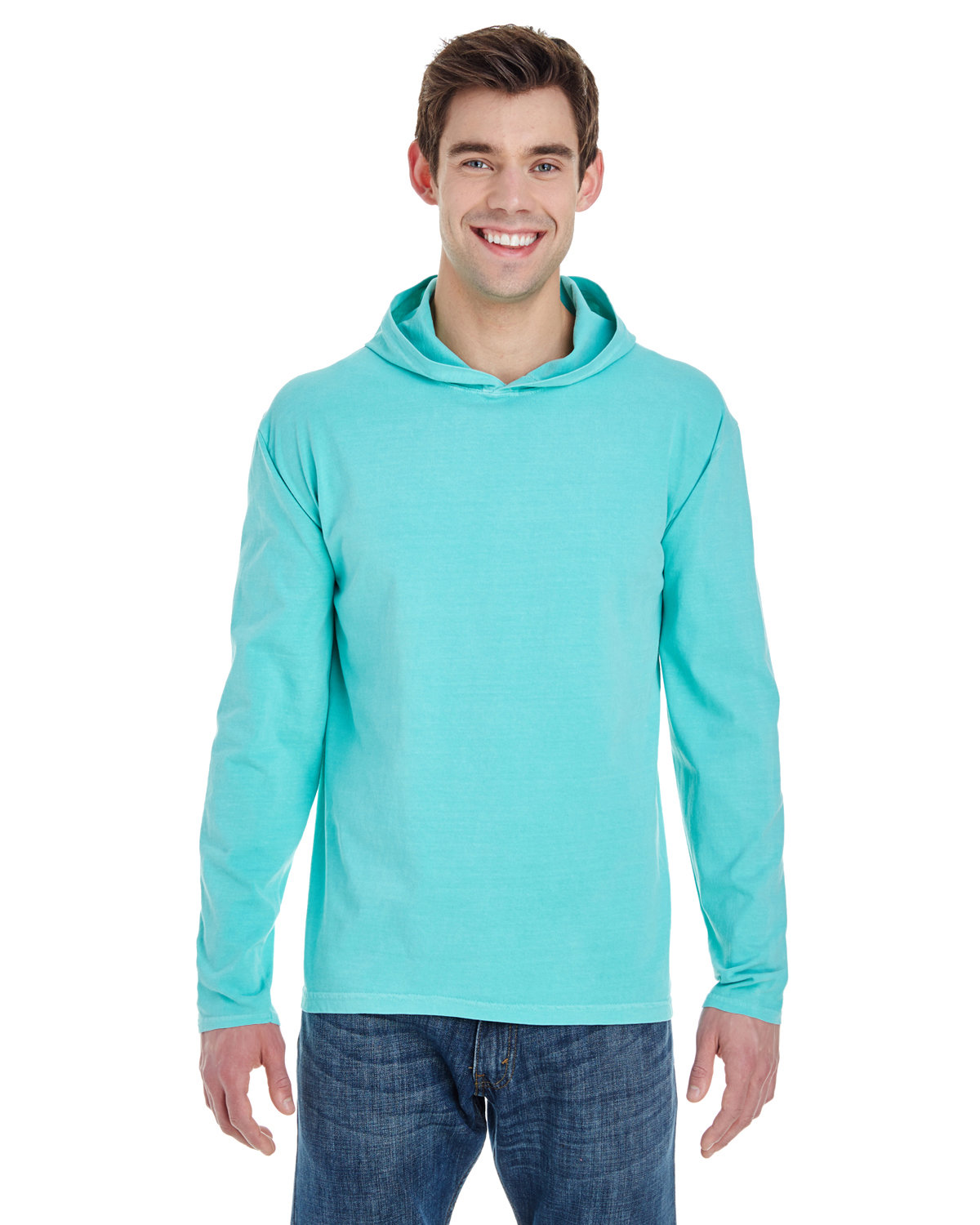 Comfort Colors Adult Heavyweight Long-Sleeve Hooded T-Shirt CHALKY MINT