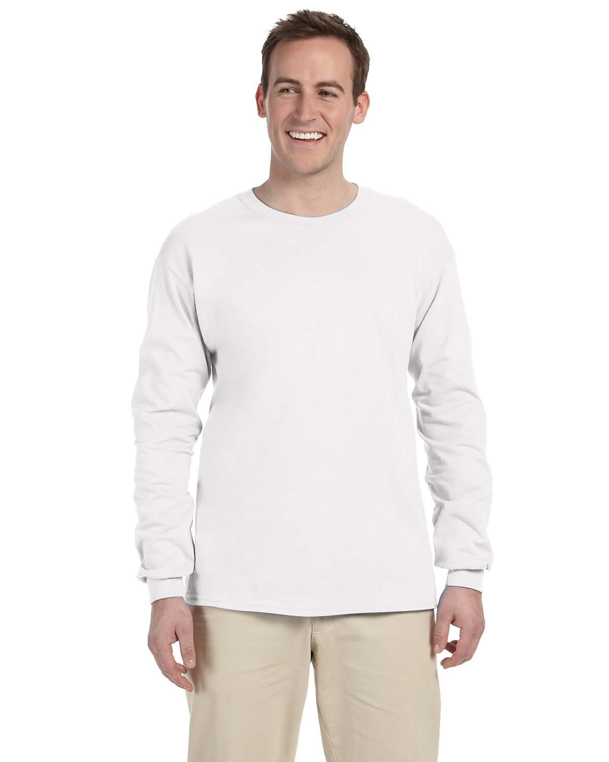 Fruit of the Loom Adult HD Cotton™ Long-Sleeve T-Shirt WHITE