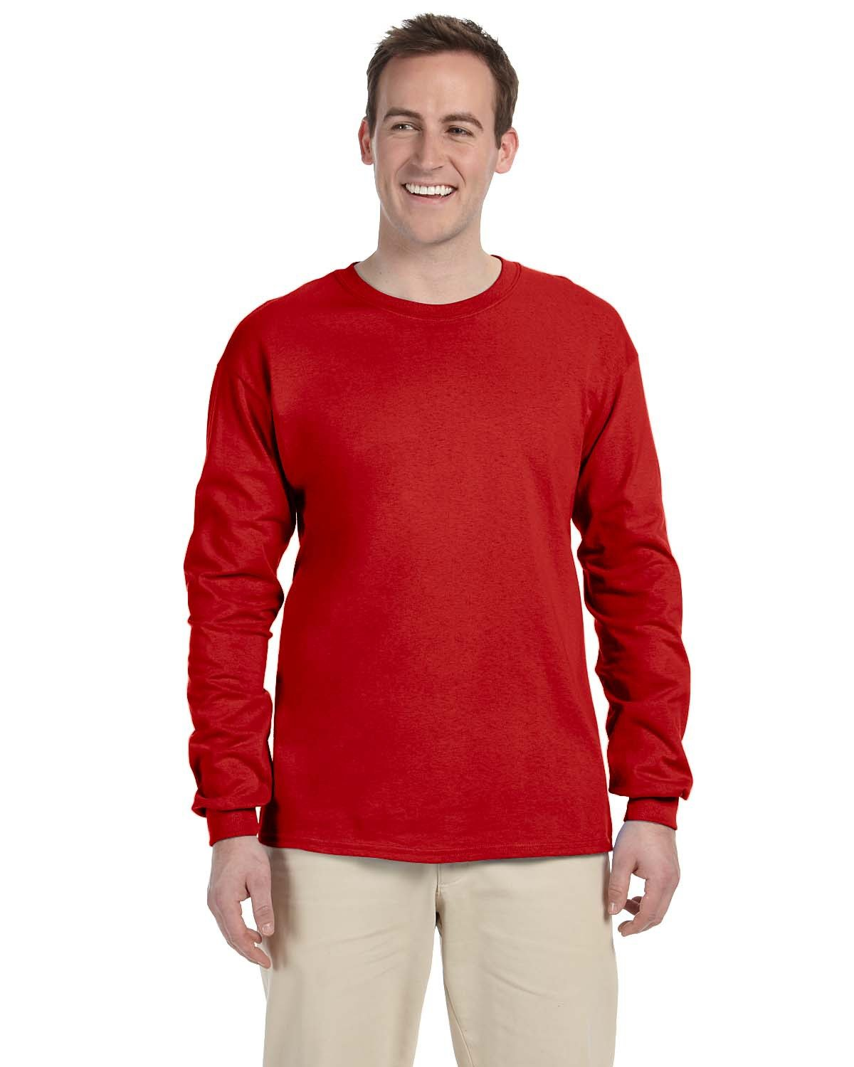 Fruit of the Loom Adult HD Cotton™ Long-Sleeve T-Shirt TRUE RED