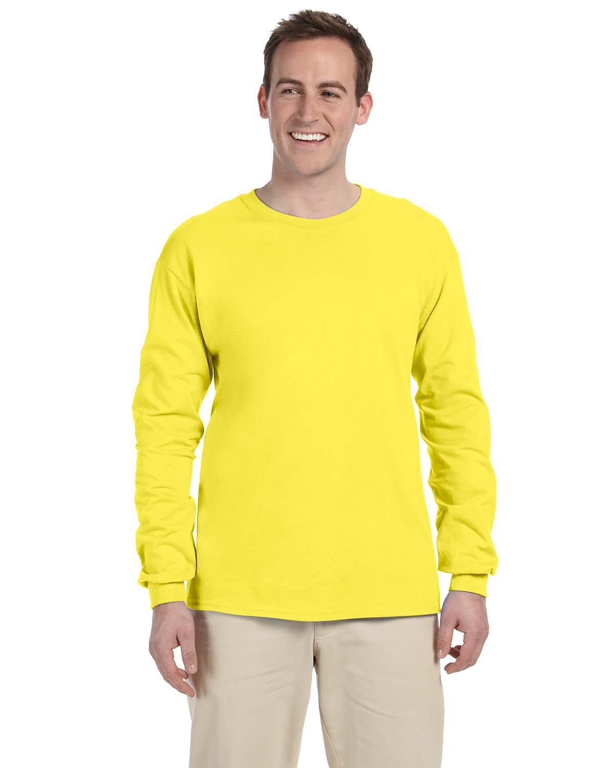 Fruit of the Loom Adult HD Cotton™ Long-Sleeve T-Shirt YELLOW