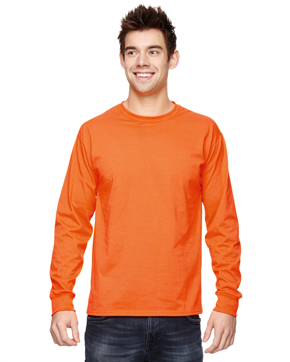 Fruit of the Loom Adult HD Cotton™ Long-Sleeve T-Shirt SAFETY ORANGE