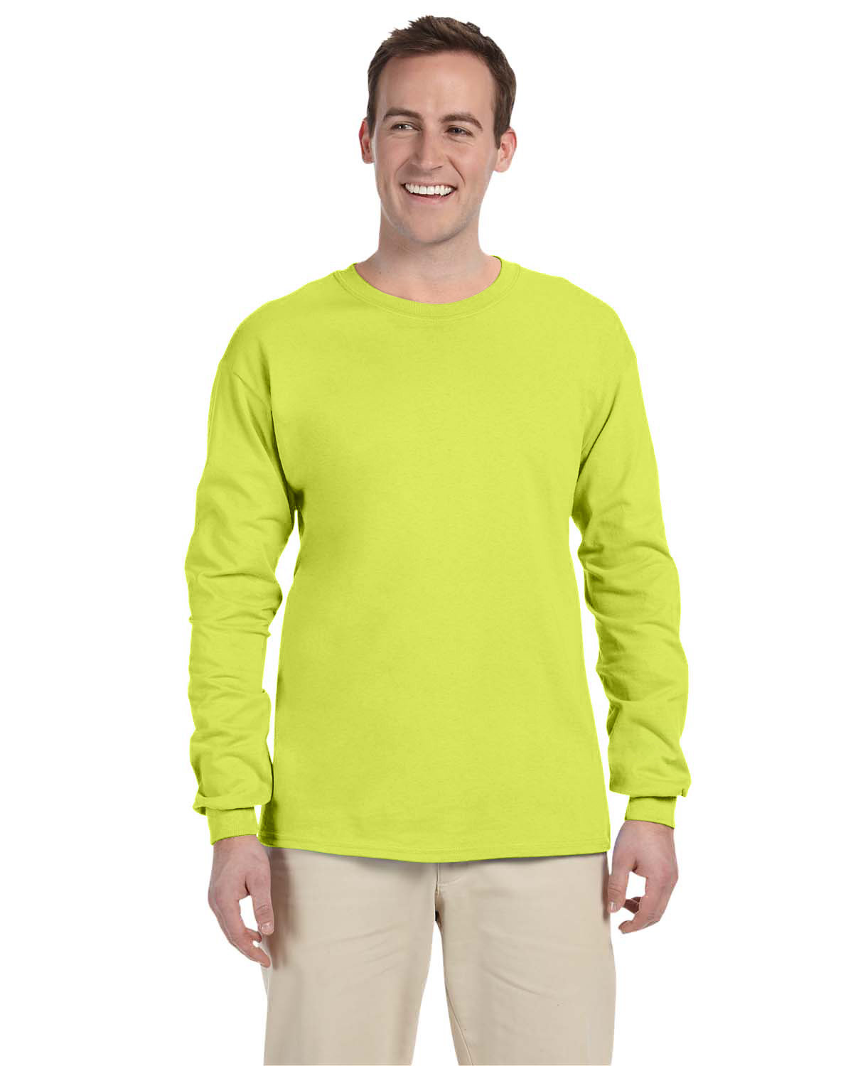 Fruit of the Loom Adult HD Cotton™ Long-Sleeve T-Shirt SAFETY GREEN
