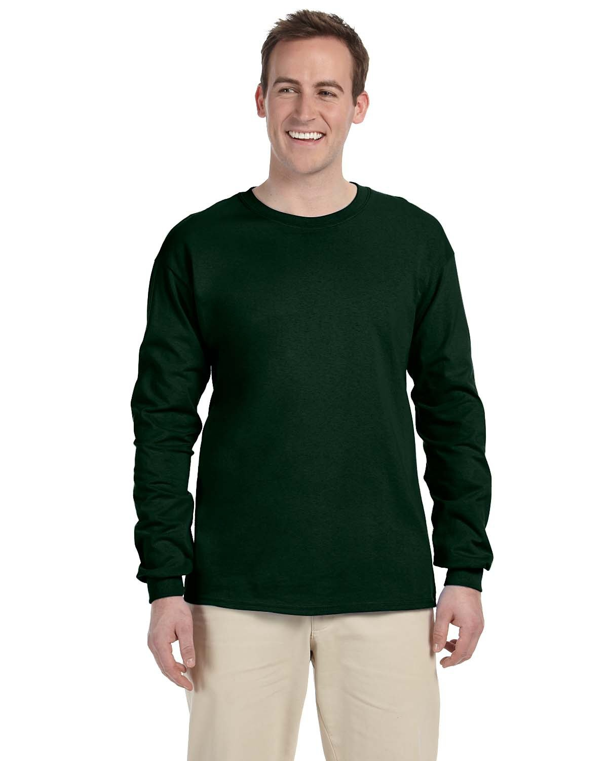 Fruit of the Loom Adult HD Cotton™ Long-Sleeve T-Shirt FOREST GREEN