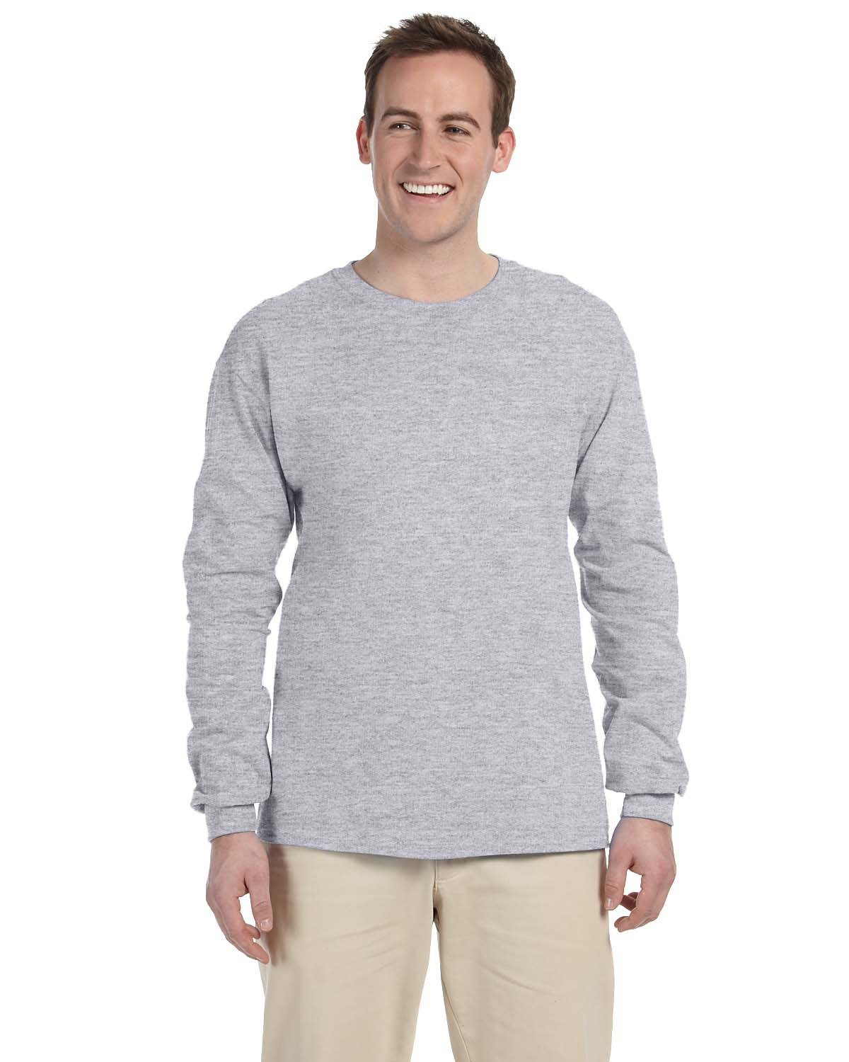 Fruit of the Loom Adult HD Cotton™ Long-Sleeve T-Shirt ATHLETIC HEATHER