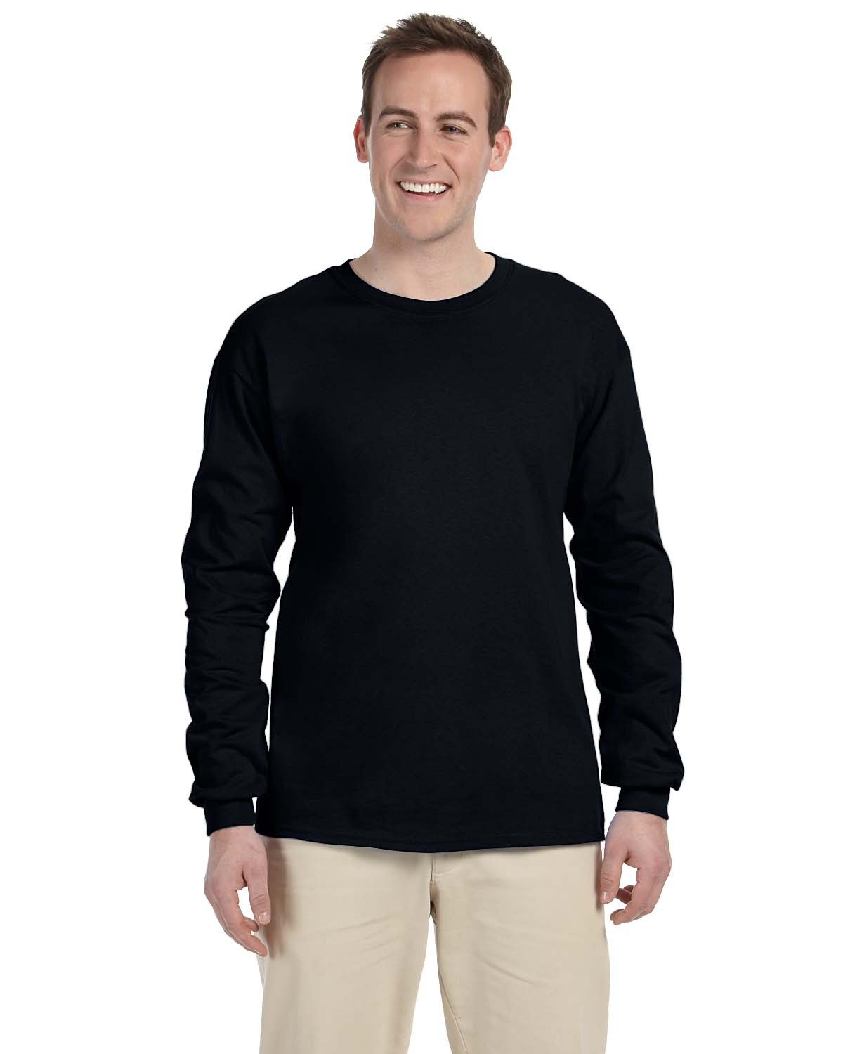 Fruit of the Loom Adult HD Cotton™ Long-Sleeve T-Shirt BLACK