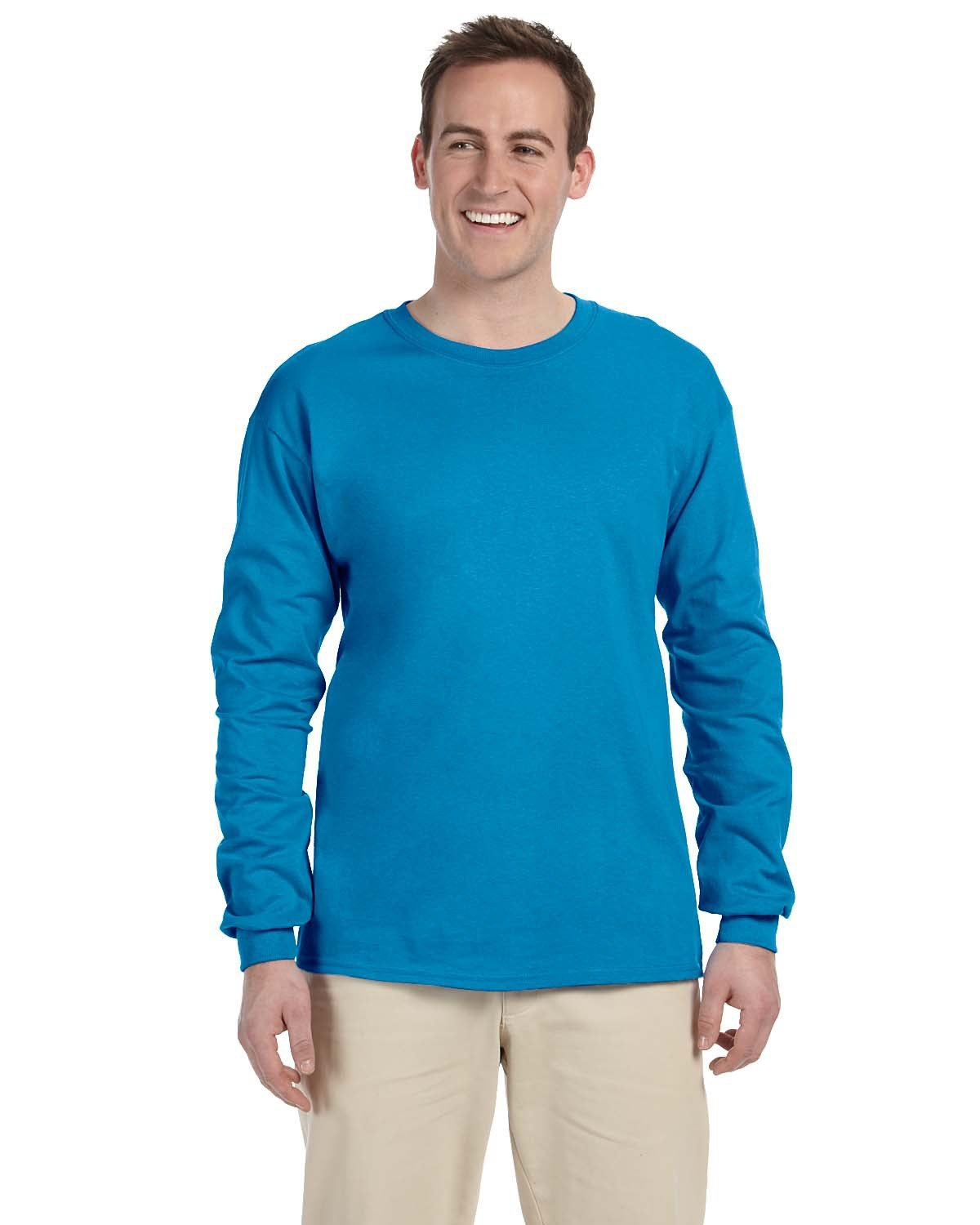Fruit of the Loom Adult HD Cotton™ Long-Sleeve T-Shirt PACIFIC BLUE