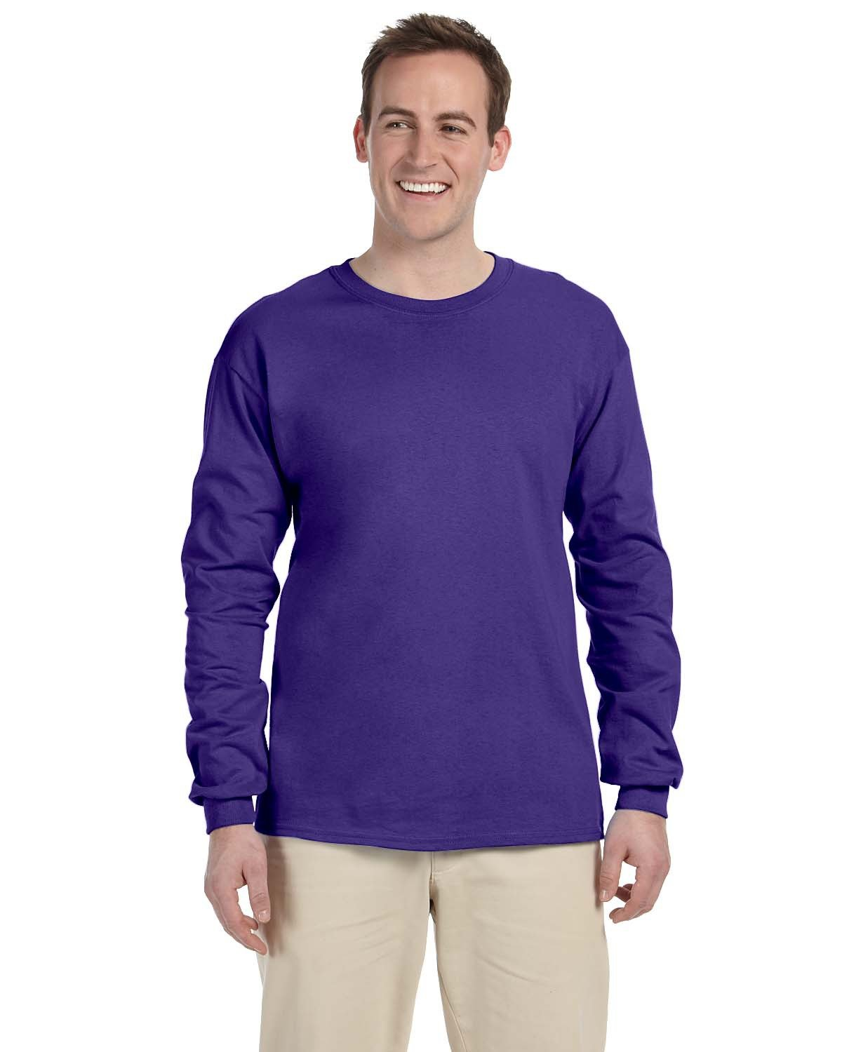 Fruit of the Loom Adult HD Cotton™ Long-Sleeve T-Shirt PURPLE