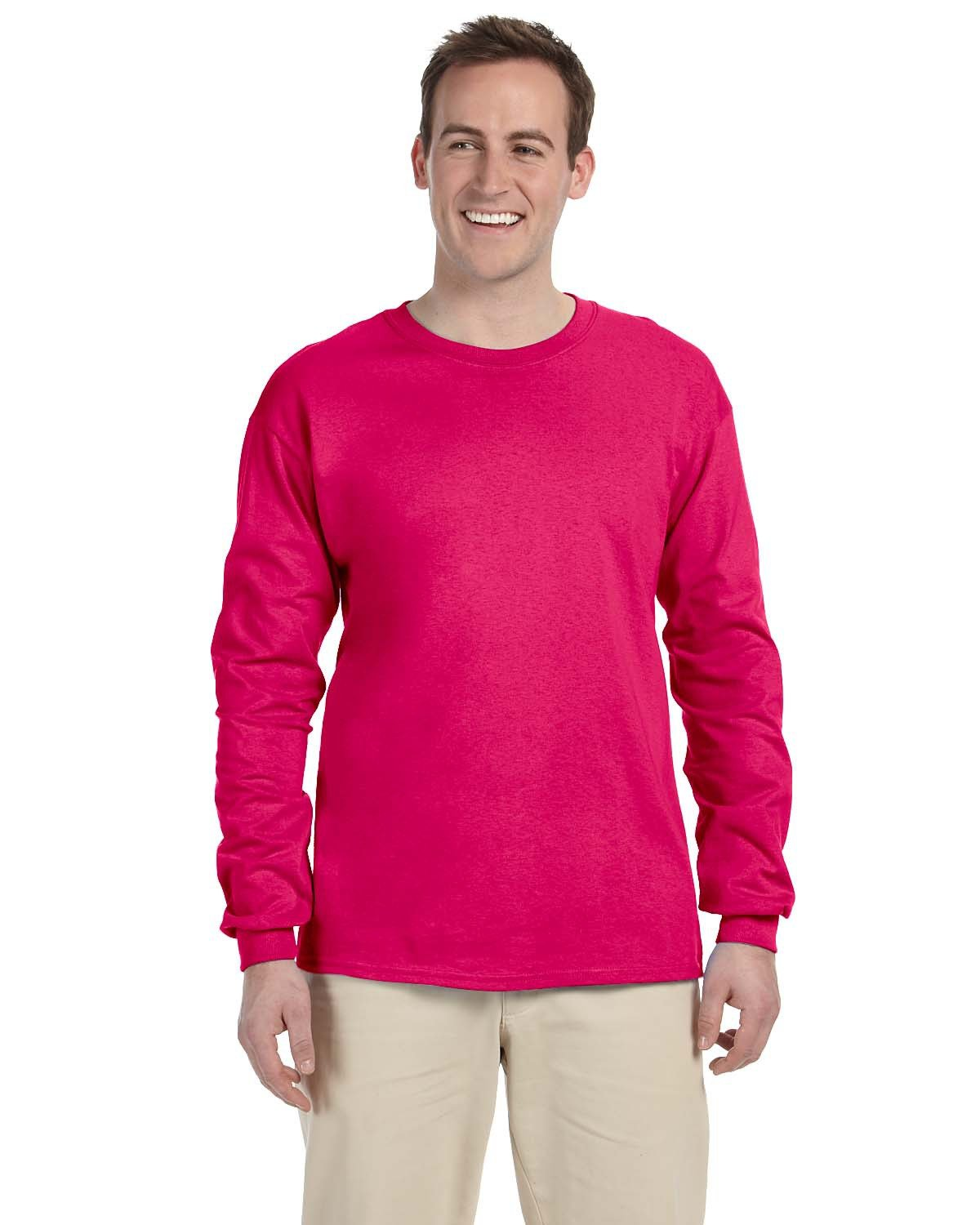 Fruit of the Loom Adult HD Cotton™ Long-Sleeve T-Shirt CYBER PINK