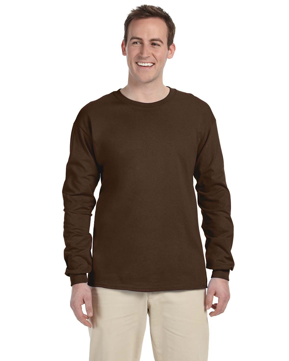 Fruit of the Loom Adult HD Cotton™ Long-Sleeve T-Shirt CHOCOLATE