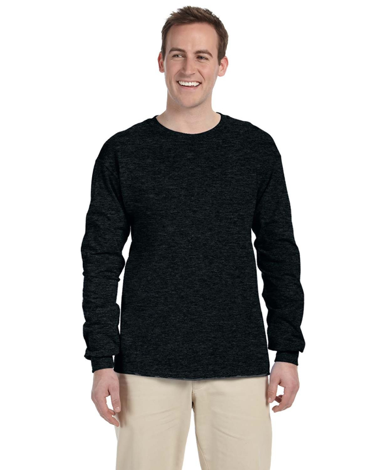 Fruit of the Loom Adult HD Cotton™ Long-Sleeve T-Shirt BLACK HEATHER