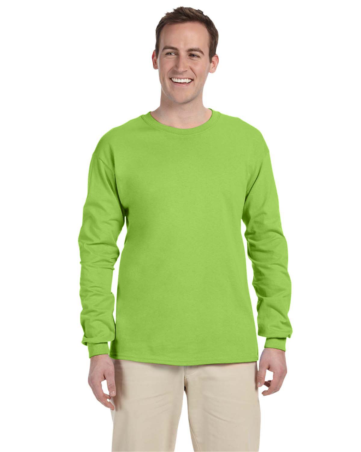 Fruit of the Loom Adult HD Cotton™ Long-Sleeve T-Shirt NEON GREEN