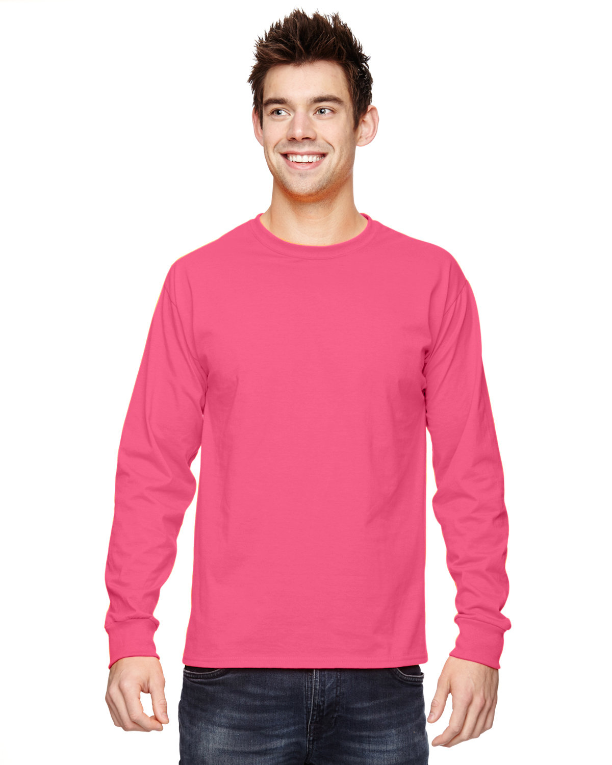 Fruit of the Loom Adult HD Cotton™ Long-Sleeve T-Shirt NEON PINK