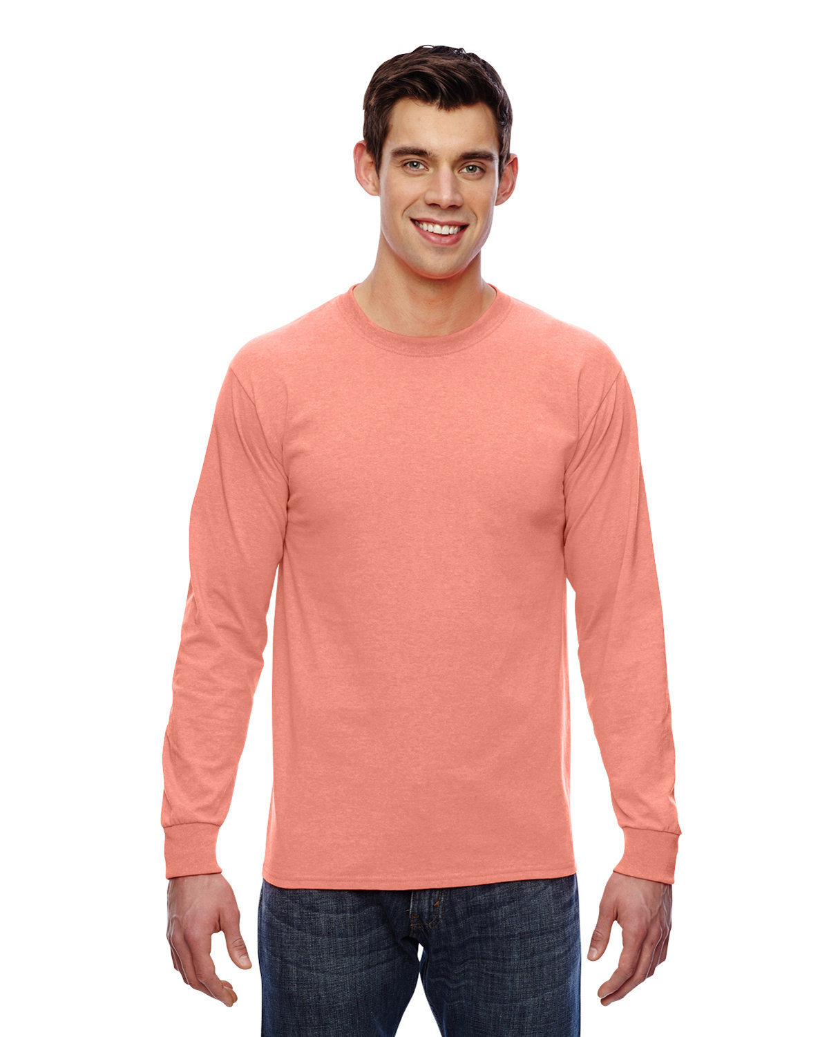 Fruit of the Loom Adult HD Cotton™ Long-Sleeve T-Shirt RETRO HTHR CORAL