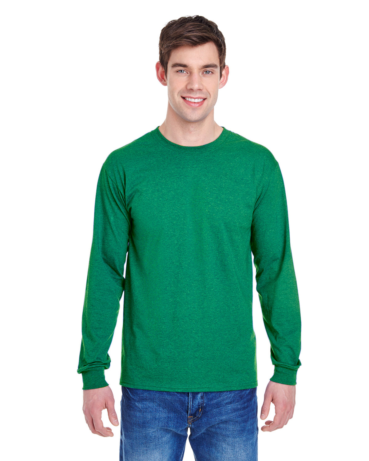 Fruit of the Loom Adult HD Cotton™ Long-Sleeve T-Shirt RETRO HTHR GREEN