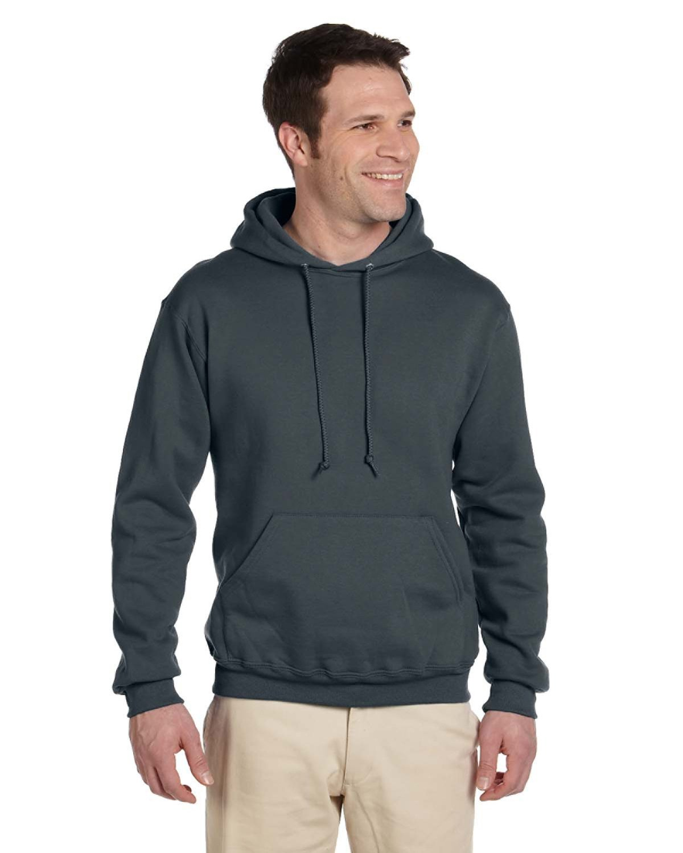 Jerzees Adult Super Sweats® NuBlend® Fleece Pullover Hooded Sweatshirt BLACK HEATHER