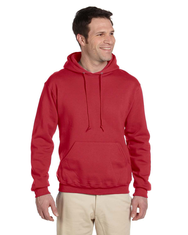 Jerzees Adult Super Sweats® NuBlend® Fleece Pullover Hooded Sweatshirt TRUE RED